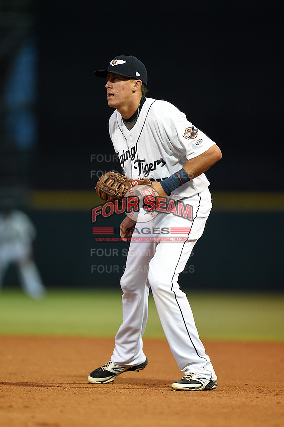 Lakeland Flying Tigers first baseman Dominic Ficociello (25) during a game against the Tampa Yankees on April 9, 2015 at Joker Marchant Stadium in Lakeland, Florida.  Tampa defeated Lakeland 2-0.  (Mike Janes/Four Seam Images)