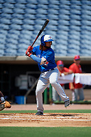 Toronto Blue Jays Ronny Brito (51) at bat during an Instructional League game against the Philadelphia Phillies on September 17, 2019 at Spectrum Field in Clearwater, Florida.  (Mike Janes/Four Seam Images)