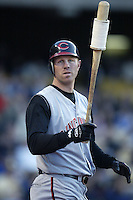 Adam Dunn of the Cincinnati Reds gets ready to bat during a 2002 MLB season game against the Los Angeles Dodgers at Dodger Stadium, in Los Angeles, California. (Larry Goren/Four Seam Images)