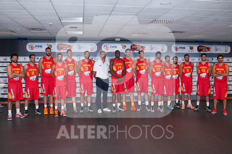 Spain´s players during the official presentation of Spain´s basketball team for the 2014 Spain Basketball Championship in Madrid, Spain. July 24, 2014. (ALTERPHOTOS/Victor Blanco)