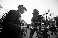 Milan-San Remo 2012.raceday.George Hincapie took all the time in the world to chat with this elderly spectator.