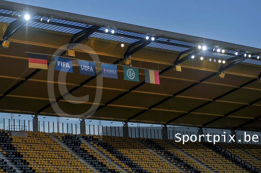 illustration picture showing the flags of Germany, FIFA, UEFA, Respect, German Soccer Federation and Belgium on the stadium roof during a friendly female soccer game between the national teams of Germany and  Belgium , called the Red Flames  in a pre - bid tournament called Three Nations One Goal with the national teams from Belgium , The Netherlands and Germany towards a bid for the hosting of the 2027 FIFA Women's World Cup , on Sunday 21 st of February 2021  in Aachen , Germany . PHOTO SPORTPIX.BE | SPP | STIJN AUDOOREN