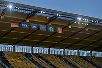 illustration picture showing the flags of Germany, FIFA, UEFA, Respect, German Soccer Federation and Belgium on the stadium roof during a friendly female soccer game between the national teams of Germany and  Belgium , called the Red Flames  in a pre - bid tournament called Three Nations One Goal with the national teams from Belgium , The Netherlands and Germany towards a bid for the hosting of the 2027 FIFA Women's World Cup , on Sunday 21 st of February 2021  in Aachen , Germany . PHOTO SPORTPIX.BE   SPP   STIJN AUDOOREN