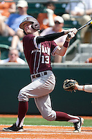 Texas A&M Aggies outfielder Krey Bratsen #13 swings during the NCAA baseball game against the Texas Longhorns on April 28, 2012 at UFCU Disch-Falk Field in Austin, Texas. The Aggies beat the Longhorns 12-4. (Andrew Woolley / Four Seam Images)..