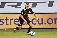 KANSAS CITY, KS - OCTOBER 11: Alistair Johnston #12 of Nashville SC with the ball during a game between Nashville SC and Sporting Kansas City at Children's Mercy Park on October 11, 2020 in Kansas City, Kansas.