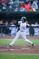 Idaho Falls Chukars shortstop Offerman Collado (0) follows through on a swing during a Pioneer League game against the Billings Mustangs at Melaleuca Field on August 22, 2018 in Idaho Falls, Idaho. The Idaho Falls Chukars defeated the Billings Mustangs by a score of 5-3. (Zachary Lucy/Four Seam Images)