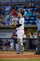 Pensacola Blue Wahoos catcher Ryan Jeffers (8) during a Southern League game against the Mobile BayBears on July 25, 2019 at Hank Aaron Stadium in Pensacola, Florida.  Pensacola defeated Mobile 3-2 in the second game of a doubleheader.  (Mike Janes/Four Seam Images)