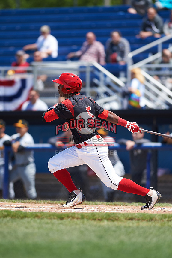 Batavia Muckdogs second baseman Samuel Castro (5) at bat during a game against the West Virginia Black Bears on June 25, 2017 at Dwyer Stadium in Batavia, New York.  West Virginia defeated Batavia 6-4 in the completion of the game started on June 24th.  (Mike Janes/Four Seam Images)