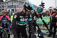Chris Froome (GBR/SKY) & Wout Poels (NLD/SKY) off to the start<br /> <br /> 102nd Liège-Bastogne-Liège 2016