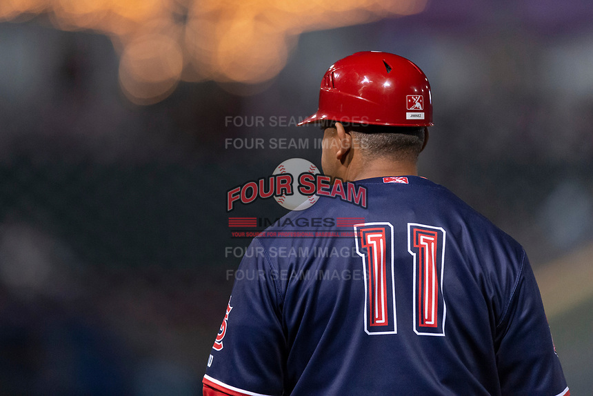 Memphis Redbirds hitting coach Jobel Jimenez (11) during a Pacific Coast League game against the Omaha Storm Chasers on April 26, 2019 at Werner Park in Omaha, Nebraska. Memphis defeated Omaha 7-3. (Zachary Lucy/Four Seam Images)