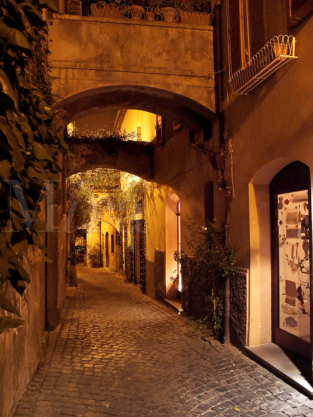 Cobblestone street at night, Orvieto, Ital