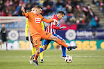 Cristian Rivera Hernandez (l) of SD Eibar battles for the ball with Angel Correa of Atletico de Madrid during their Copa del Rey 2016-17 Quarter-final match between Atletico de Madrid and SD Eibar at the Vicente Calderón Stadium on 19 January 2017 in Madrid, Spain. Photo by Diego Gonzalez Souto / Power Sport Images