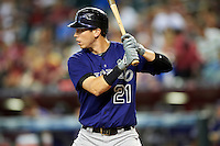 Colorado Rockies outfielder Tyler Colvin #21 during a National League regular season game against the Arizona Diamondbacks at Chase Field on October 3, 2012 in Phoenix, Arizona. Colorado defeated Arizona 2-1. (Mike Janes/Four Seam Images)