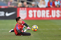 San Diego, CA - Sunday January 21, 2018: Ashlyn Harris prior to an international friendly between the women's national teams of the United States (USA) and Denmark (DEN) at SDCCU Stadium.