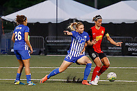 Rochester, NY - Friday June 24, 2016: Rachel Wood, Abby Erceg during a regular season National Women's Soccer League (NWSL) match between the Western New York Flash and the Boston Breakers at Rochester Rhinos Stadium.