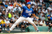 Kansas City Royals starting pitcher Jeff Francis #26 delivers a pitch during a game against the Chicago White Sox at U.S. Cellular Field on August 14, 2011 in Chicago, Illinois.  Chicago defeated Kansas City 6-2.  (Mike Janes/Four Seam Images)