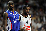 Real Madrid´s Kelvin Rivers and Anadolu Efes´s Stephane Lasme during 2014-15 Euroleague Basketball Playoffs second match between Real Madrid and Anadolu Efes at Palacio de los Deportes stadium in Madrid, Spain. April 17, 2015. (ALTERPHOTOS/Luis Fernandez)