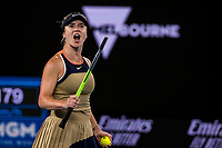 11th February 2021, Melbourne, Victoria, Australia; Elina Svitolina of Ukraine celebrates after winning her match during round 2 of the 2021 Australian Open on February 11 2020, at Melbourne Park in Melbourne, Australia.