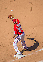 26 May 2013: Washington Nationals first baseman Adam LaRoche gets an out at first against the Philadelphia Phillies at Nationals Park in Washington, DC. The Nationals defeated the Phillies 6-1, taking the rubber game of their 3-game weekend series. Mandatory Credit: Ed Wolfstein Photo *** RAW (NEF) Image File Available ***
