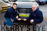 Paul Geaney receives the keys to his new 201 from Noel O'Connor of Adams of Tralee on Monday.