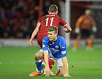 Aberdeen v St Johnstone...01.01.15   SPFL<br /> David Wotherspoon loses out to Johnny Hayes<br /> Picture by Graeme Hart.<br /> Copyright Perthshire Picture Agency<br /> Tel: 01738 623350  Mobile: 07990 594431
