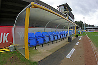 The away dugout ahead of kick-off during AFC Wimbledon vs Stevenage, Sky Bet League 2 Football at the Cherry Red Records Stadium, Kingston, England on 12/12/2015