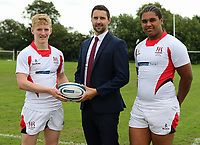 Ulster Rugby Schools 2018-2019<br /> <br /> Sullivan Upper players Conor McKee and George Saunderson with Danske Bank representative Ian Russell.<br /> <br /> Photo by John Dickson / DICKSONDIGITAL