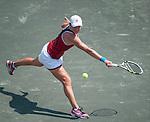 Vera Dushevina (RUS) battles at the Family Circle Cup in Charleston, South Carolina on April 4, 2012