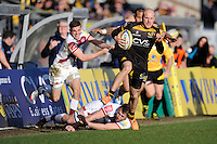 Joe Simpson of London Wasps accelerates down the wing to score a try during the Aviva Premiership match between London Wasps and Sale Sharks at Adams Park on Saturday 1st March 2014 (Photo by Rob Munro)