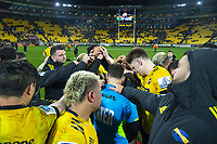 The Hurricanes huddle after the Super Rugby Aotearoa match between the Hurricanes and Blues at Sky Stadium in Wellington, New Zealand on Saturday, 18 July 2020. Photo: Dave Lintott / lintottphoto.co.nz