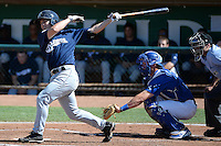 Nathan Orf (3) of the Helena Brewers follows through on his swing against the Ogden Raptors at Lindquist Field on July 21, 2013 in Ogden Utah. (Stephen Smith/Four Seam Images)