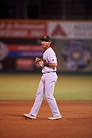 Visalia Rawhide third baseman Jose Caballero (7) during a California League game against the San Jose Giants on April 12, 2019 at San Jose Municipal Stadium in San Jose, California. Visalia defeated San Jose 6-2. (Zachary Lucy/Four Seam Images)