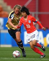 So Yun Ji (KOR) and Julia Roberts (USA) compete for the ball..FIFA U17 Women's World Cup, USA v Korea Republic, Waikato Stadium, Hamilton, New Zealand, Sunday 9 November 2008. Photo: Renee McKay/PHOTOSPORT