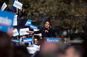 Queens, New York<br /> Queensbridge Park<br /> October 19, 2019<br /> <br /> Congresswoman New York Rep. Alexandria Ocasio-Cortez endorses Senator Bernie Sanders for US President at the his first major campaign rally since suffering from a heart attack earlier this month in Queensbridge Park. <br /> <br /> An estimated 26,000 people attended the event according to the Sanders campaign.