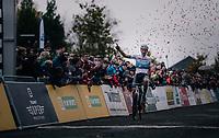 European CX Champion Mathieu van der Poel (NED/Corendon-Circus) winning the race<br /> <br /> Men's race<br /> Superprestige Asper-Gavere 2018 (BEL)