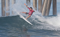 Huntington Beach, CA - Thursday August 03, 2017: Frederico Morais during a World Surf League (WSL) Qualifying Series (QS) second round heat in the 2017 Vans US Open of Surfing on the South side of the Huntington Beach pier.
