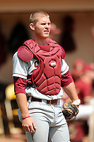 Florida State Seminoles' catcher Stephen McGee #9 during a game versus the Boston College Eagles at Shea Field in Chestnut Hill, Massachesetts on April 14, 2012  (Ken Babbitt/Four Seam Images)