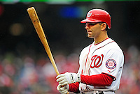 31 March 2011: Washington Nationals second baseman Danny Espinosa in Opening Day action against the Atlanta Braves at Nationals Park in Washington, District of Columbia. The Braves shut out the Nationals 2-0 to start off the 2011 Major League Baseball season. Mandatory Credit: Ed Wolfstein Photo