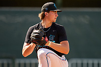 Miami Marlins pitcher Kyle Nicolas (19) during a Minor League Spring Training camp day on April 27, 2021 at Roger Dean Chevrolet Stadium Complex in Jupiter, Fla.  (Mike Janes/Four Seam Images)