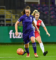 Anderlecht midfielder Tine De Caigny (6) pictured with Linfield defender Kelsie Burrows (14)  during a female soccer game between RSC Anderlecht Dames and Northern Irish Linfield Ladies  in the first qualifying round for the Uefa Womens Champions League of the 2020 - 2021 season , Wednesday 4 th of November 2020  in ANDERLECHT , Belgium . PHOTO SPORTPIX.BE | SPP | DAVID CATRY