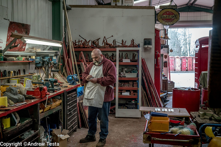 UK. Redhill. 20th March 2018<br /> Tony Inglis at Unicorn Restorations.<br /> Andrew Testa for the New York Times