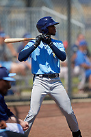 Tampa Bay Rays Gionti Turner (80) on deck during a Minor League Spring Training game against the Boston Red Sox on March 25, 2019 at the Charlotte County Sports Complex in Port Charlotte, Florida.  (Mike Janes/Four Seam Images)