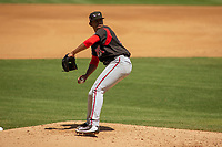 Lake Elsinore Storm Ronald Bolanos (16) delivers a pitch to the plate against the Rancho Cucamonga Quakes at LoanMart Field on May 28, 2018 in Rancho Cucamonga, California. The Storm defeated the Quakes 8-5.  (Donn Parris/Four Seam Images)