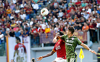 Roma's Amadou Diawara, left, and Cagliari's Luca Pellegrini fight for the ball during the Serie A soccer match between Roma and Cagliari at Rome's Olympic Stadium, October 6, 2019. UPDATE IMAGES PRESS/ Riccardo De Luca