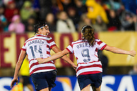 Abby Wambach (14) of the United States (USA) celebrates scoring with Heather O'Reilly (9). The United States (USA) and Germany (GER) played to a 2-2 tie during an international friendly at Rentschler Field in East Hartford, CT, on October 23, 2012.