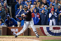 Cleveland Indians Carlos Santana (41) bats in the ninth inning during Game 5 of the Major League Baseball World Series against the Chicago Cubs on October 30, 2016 at Wrigley Field in Chicago, Illinois.  (Mike Janes/Four Seam Images)