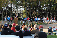 STANFORD, CA - OCTOBER 10:  (L-R) Ben Wildman-Tobriner, Julia Smit, Elaine Breeden, Peter Hudnut, Ted Robinson, Michael Robertson, Jackie Edwards, Matt Gentry, Jillian Harmon, Ali Riley, Jessica Steffens, Erica McLain, Arantxa King, Elle Logan, Lindsay Meyer, Nicole Barnhart, and Rachel Buehler of the Stanford Cardinal during Stanford's Olympic reception on October 10, 2008 at Arrillaga Plaza in Stanford, California.