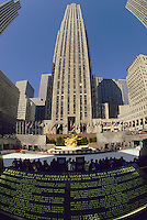 New York. Manhattan. Rockefeller Plaza and plaque with the Credo of John D. Rockefeller, Jr.  United States of America.