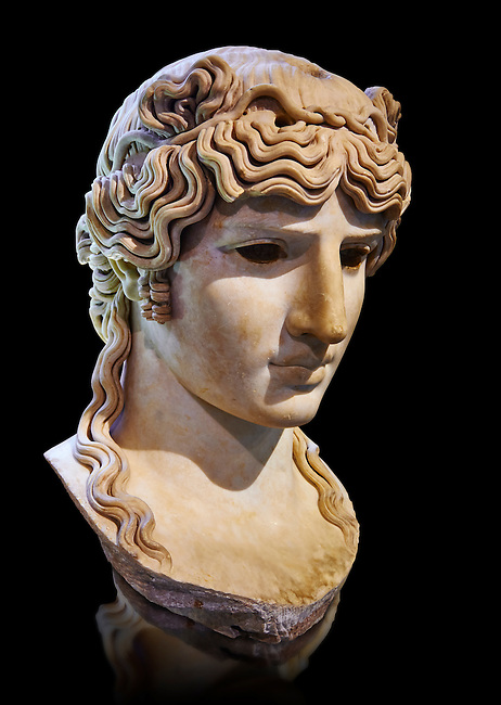 Antinous Mondragone, A Roman marble bust from circa 130 AD. Antinous was the young Bithynian favoured by the emperor Hadrian who was deified after drowning under mysterious circumstances in the waters of the Nile circa 130AD. Thanks to the promotion of the cult Antinous portraits can be found throughout the Empire in the places most frequented by Hadrian. The Borghese Collection Inv No. MR 412 or Ma 1205, Louvre Museum, Paris.