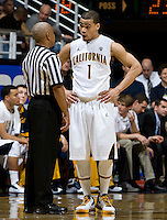 Justin Cobbs of California talks with the referee about a bad call during the game against Colorado at Haas Pavilion in Berkeley, California on January 12th, 2012.   California defeated Colorado, 57-50.